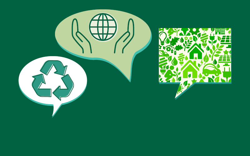 Speech bubbles with recycle lable, hands cupping global icon, and assorted green icons like leaves and houses, all against a green background