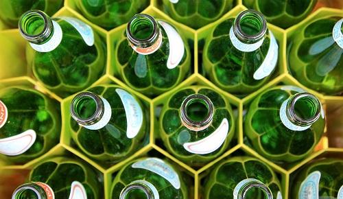 stored glass bottles