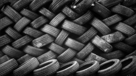wall of used tires