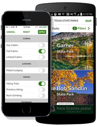 smartphone showing outdoor app