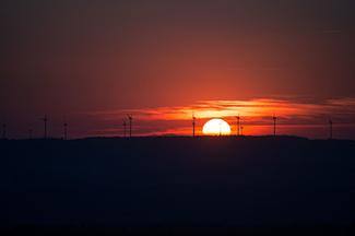 windfarm on sunset horizon