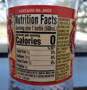 Nutrition fact label on flavored water bottle