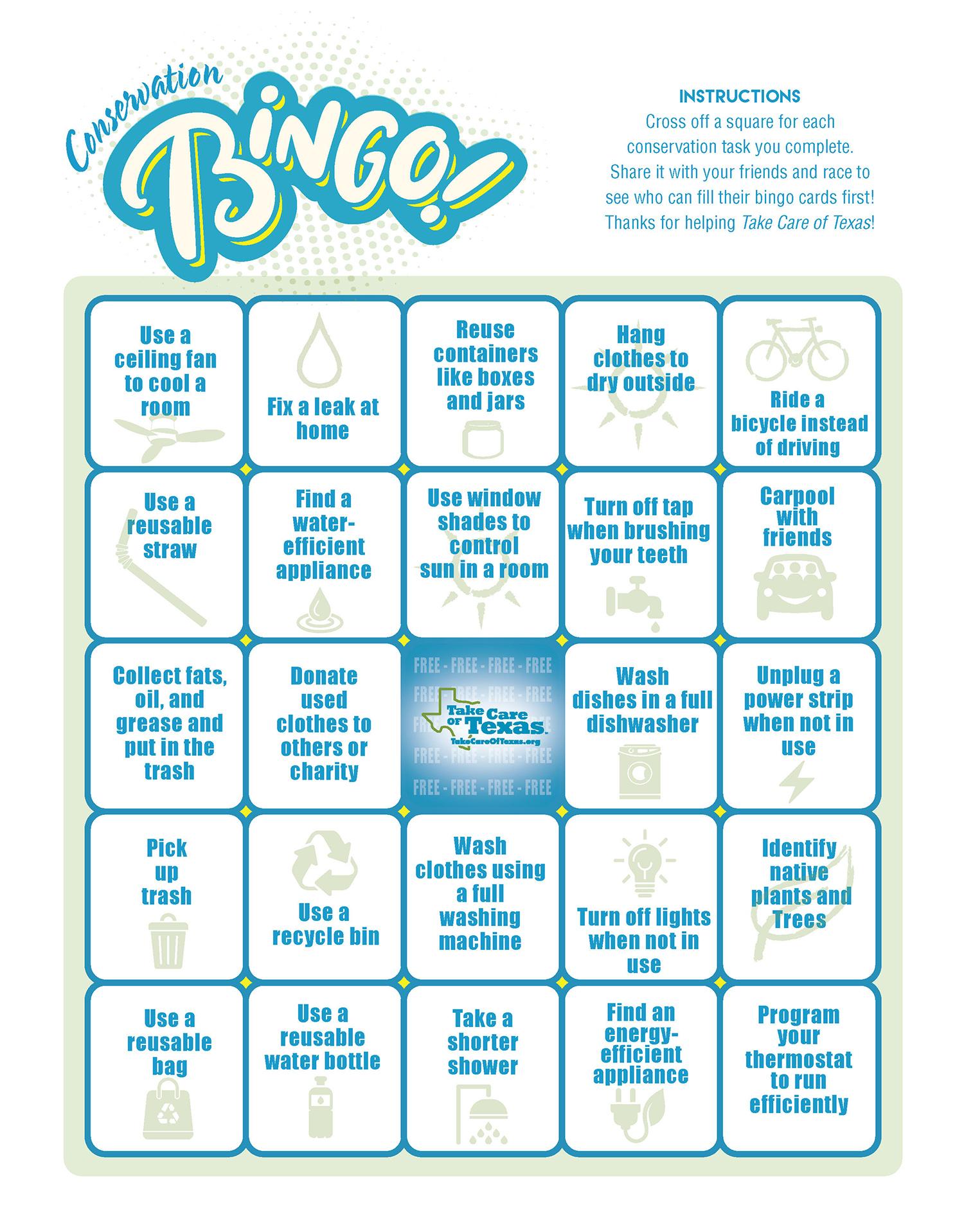 Conservation Bingo Board three