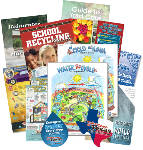 assorted free publications likes stickers, books, posters,and guides for educators