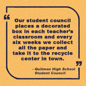 Submit your story submission about highschool student council recycling efforts
