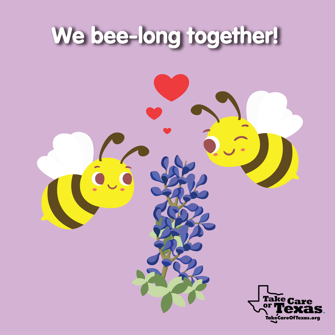 Two bees flying around blue bonnets in love