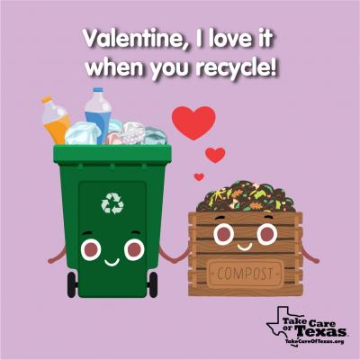 A recycle bin and compost bin holding hands smiling