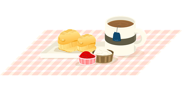 Picnic blanket with food and tea