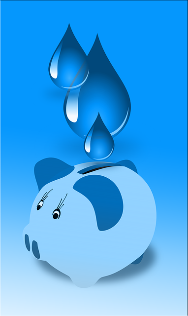 Water droplets into piggy bank