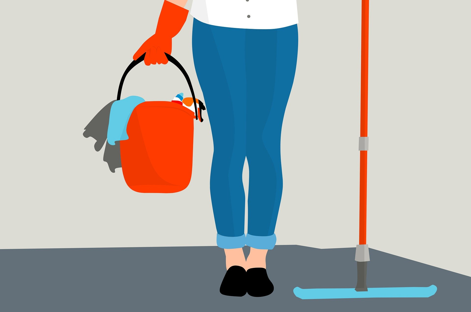 Cleaner holding mop and cleaning supplies in bucket graphic
