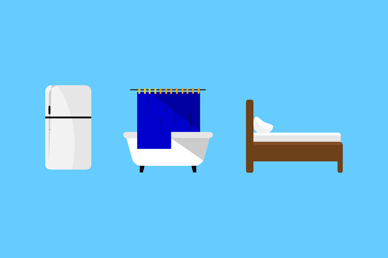 Refrigerator Shower tub and bed graphic