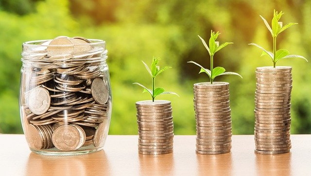Stacks of coins with plant sprouts