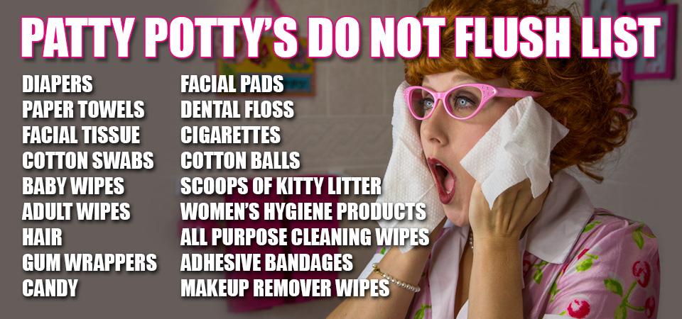 Patty Potty's do not flush list