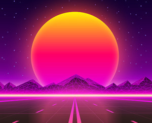 Retro future image of a road going toward a sundown behind the mountains