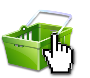 Green hand basket with hand clicker icon