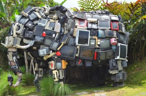 elephant sculpture constructed from old televisions