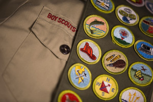 Boy scout sash with award patches