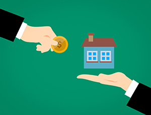 Savings at Home hands exchanging house for money coin