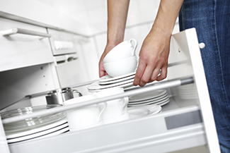 reusable dishes in a drawer