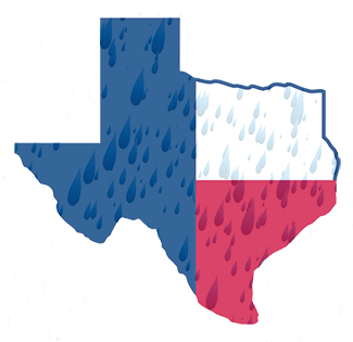 rain droplets on state of Texas outline