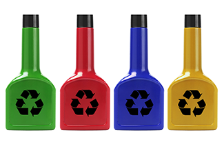 colored Motor oil recycle canisters