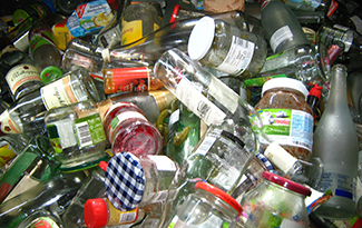 pile of glass containers