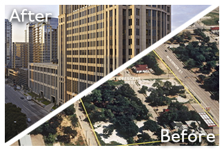Before and after picture of Brownfields Texas commercial district
