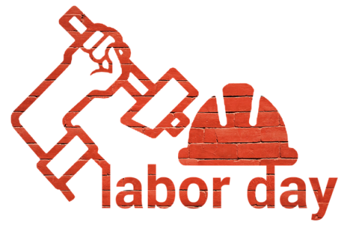 Labor Day arm holding hammer and work hat