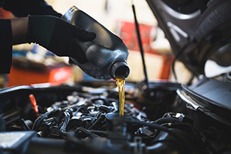 Oil Change under car hood