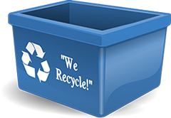 blue recycle bin graphic
