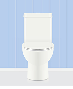 A toilet in front of a blue background
