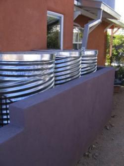 System of three rain cisterns